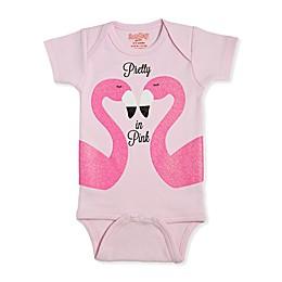 Sara Kety® Flamingo Short Sleeve Bodysuit in Pink