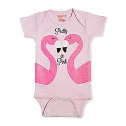 Sara Kety® Size 0-6M Flamingo Short Sleeve Bodysuit in Pink