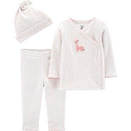 carter's® Preemie 3-Piece Giraffe Shirt, Pant, and Cap Set in Ivory