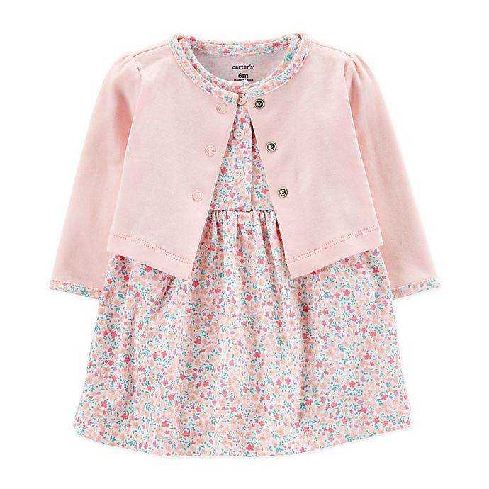 Alternate image 1 for carter's® Preemie 2-Piece Floral Dress and Cardigan Set
