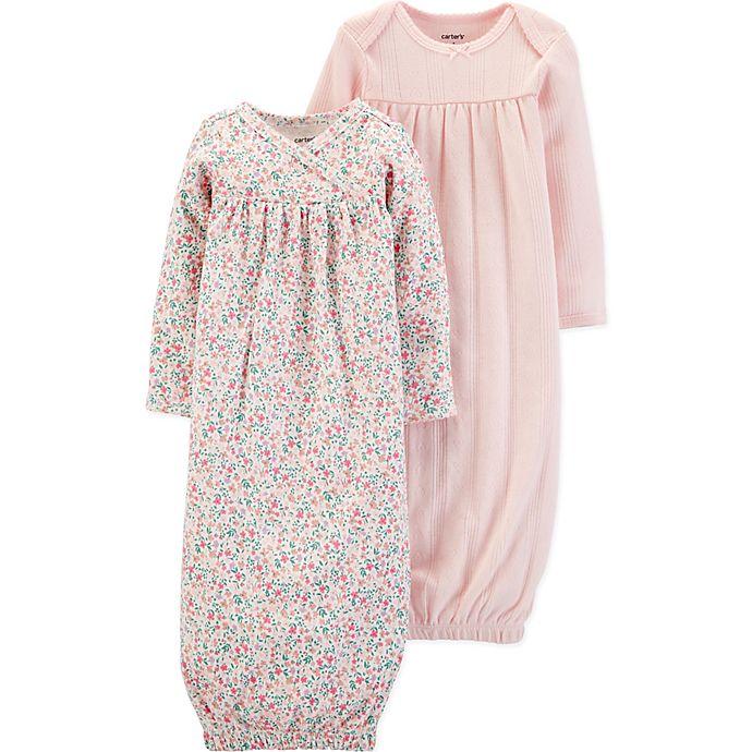 Alternate image 1 for carter's® Preemie 2-Pack Pointelle Sleep Gowns