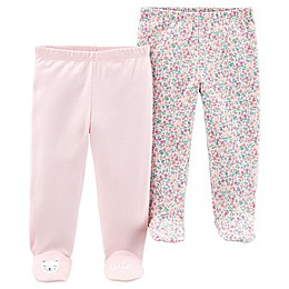 carter's® Preemie 2-Pack Floral Footed Pants