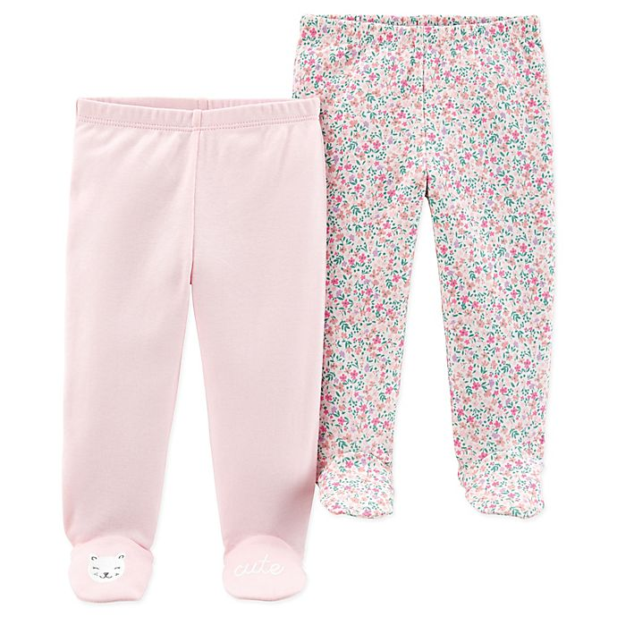 Alternate image 1 for carter's® Preemie 2-Pack Floral Footed Pants