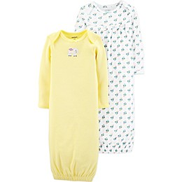 carter's® Preemie 2-Pack Elephant and Floral Gowns in Turquoise/Yellow