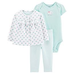 carter's® Preemie 3-Piece Elephant Cardigan, Bodysuit, and Pant Set in Blue