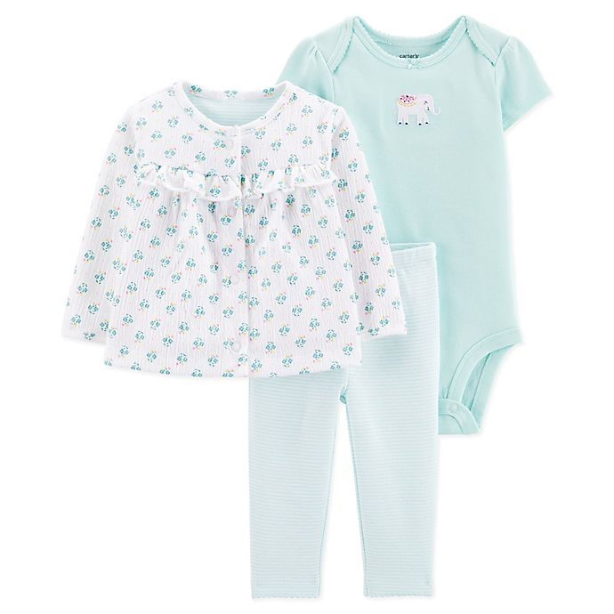 Alternate image 1 for carter's® Preemie 3-Piece Elephant Cardigan, Bodysuit, and Pant Set in Blue