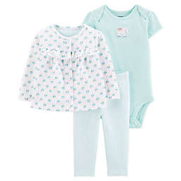carter's® Preemie 3-Piece Elephant Cardigan, Bodysuit, and Pant Set in Blue