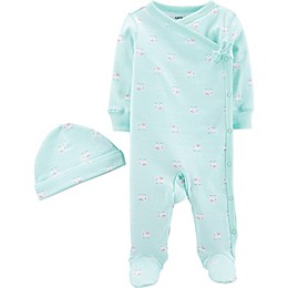 carter's® Preemie 2-Piece Elephant Footie and Hat Set in Blue