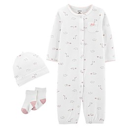 carter's® Preemie 3-Piece Giraffe Convertible Gown, Cap, and Socks Set in Ivory
