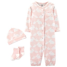 carter's® Preemie 3-Piece Bunny Convertible Gown, Cap, and Socks Set in Pink