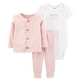 carter's® Preemie 3-Piece Happy Cardigan, Bodysuit, and Pant Set in Pink/White
