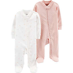 carter's® Preemie 2-Pack Cloud Footies in Pink/Ivory