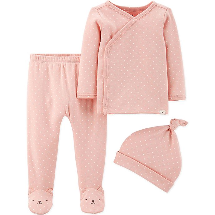 Alternate image 1 for carter's® Preemie 3-Piece Bear Shirt, Footed Pant, and Cap Set in Pink