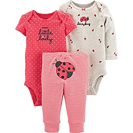 carter's® Preemie 3-Piece Ladybug Bodysuits and Pant Set in Pink