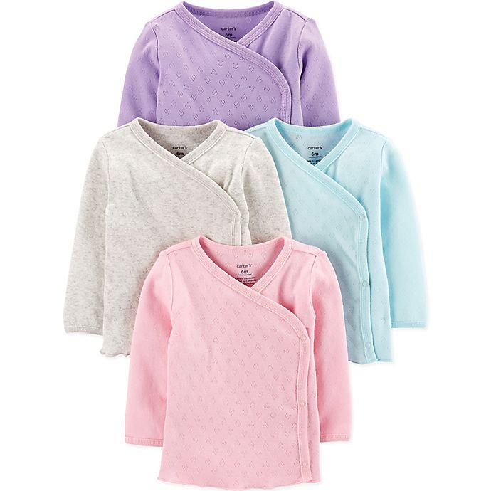 Alternate image 1 for carter's® Preemie 4-Pack Kimono Pointelle Shirts