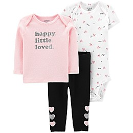carter's® 3-Piece Happy Hearts Long Sleeve Top, Bodysuit and Pant Set in Pink