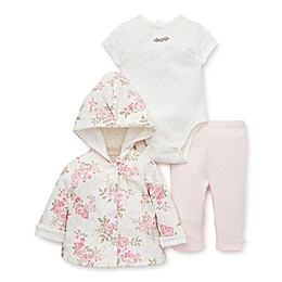 Little Me® 3-Piece Rose Hooded Sweater, Bodysuit, and Pant Set in Ivory