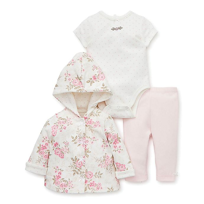Alternate image 1 for Little Me® 3-Piece Rose Hooded Sweater, Bodysuit, and Pant Set in Ivory