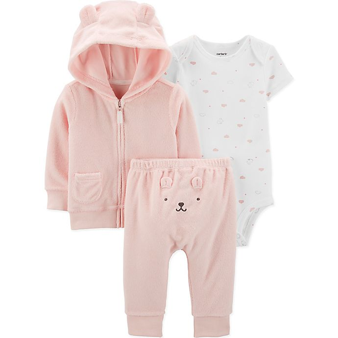Alternate image 1 for carter's® 3-Piece Bear Bodysuit, Hoodie and Pant Set in Pink