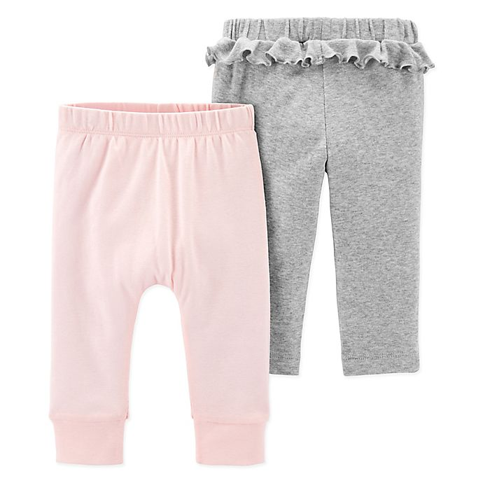Alternate image 1 for carter's® 2-Pack Ruffle Pants in Pink/Grey