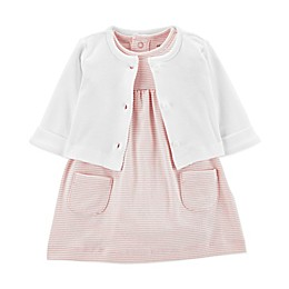 carter's® 2-Piece Striped Flutter Sleeve Dress and Cardigan Set