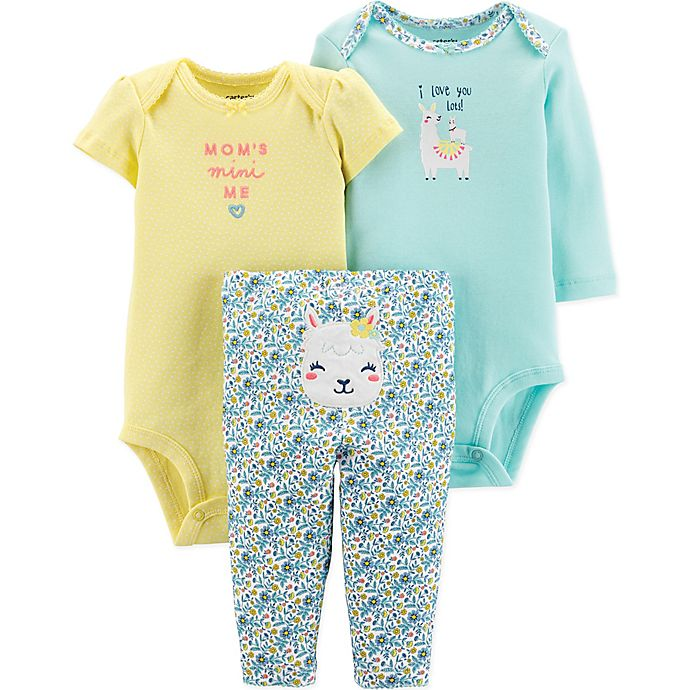 Alternate image 1 for carter's® 3-Piece Llama Bodysuits and Pant Set in Mint/Yellow