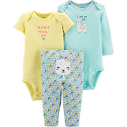 carter's® 3-Piece Llama Bodysuits and Pant Set in Mint/Yellow