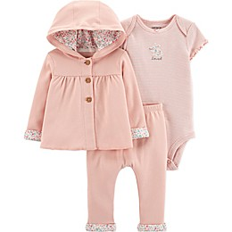 carter's® 3-Piece Floral Bunny Bodysuit, Cardigan and Pant Set in Pink