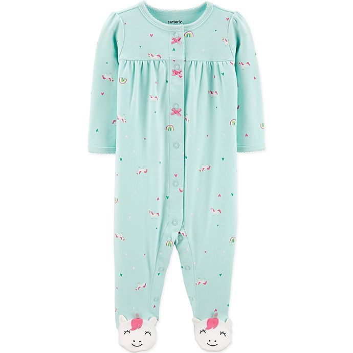 Alternate image 1 for carter's® Unicorn Snap-Front Footie in Teal