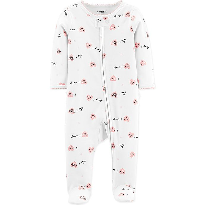 Alternate image 1 for carter's® Love Ya Hearts Zip-Front Footie in Ivory