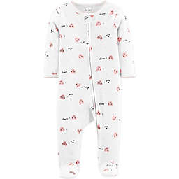 carter's® Love Ya Hearts Zip-Front Footie in Ivory