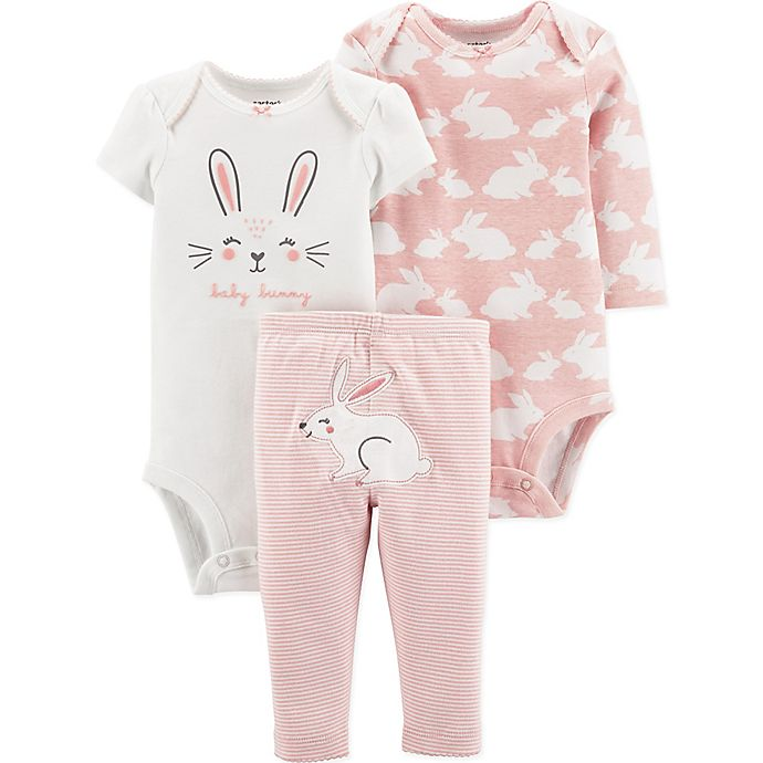 Alternate image 1 for carter's® 3-Piece Bunny Bodysuits and Pant Set in Pink/Ivory