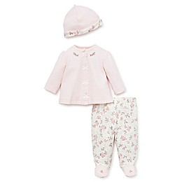 Little Me® 3-Piece Rose Top, Cap, and Footed Pant Set in Pink/Ivory