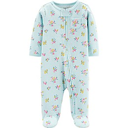 carter's® Floral Print Thermal Footie in Blue