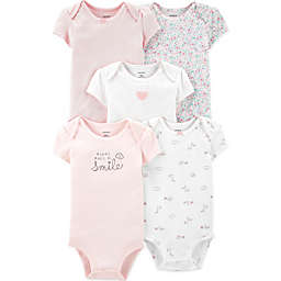carter's® 5-Pack Floral Heart Short Sleeve Bodysuits in Pink