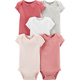 carter's® 5-Pack Short Sleeve Bodysuits in Pink