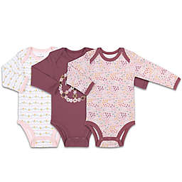 The Peanut Shell™ Happy Hippie 3-Pack Floral Long Sleeve Bodysuits