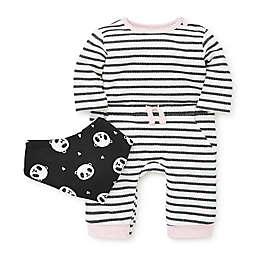 Focus Kids™ 2-Piece Stripe Coverall and Bib Set in Black