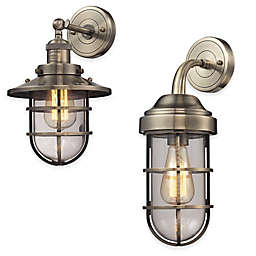 Elk Lighting Seaport 1-Light Wall-Mount Sconce with Steel Cage Shade