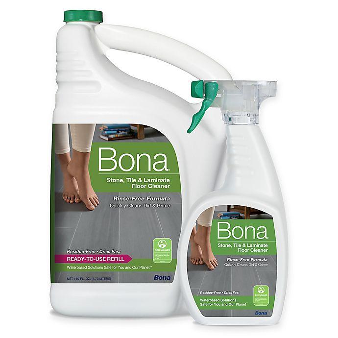 Alternate image 1 for Bona® 160 oz. Stone, Tile, and Laminate Floor Cleaner Refill with 22 oz. Bonus Spray Bottle