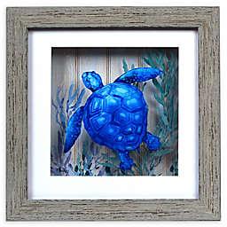 Turtle Shadow Box Wall Art in Blue
