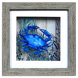 Crab Shadow Box Wall Art in Blue