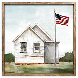 White House with Flag in Reverse Box Frame Hanging Wall Art