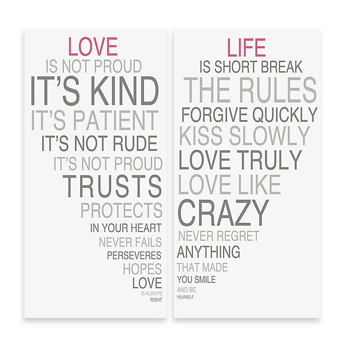Alternate image 1 for Love Is & Life Is II Typography Wall Décor (Set of 2)