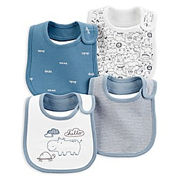 carter's® 4-Pack Hippo Bibs in Blue