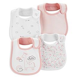 carter's® 4-Pack Giraffe Bibs in Pink