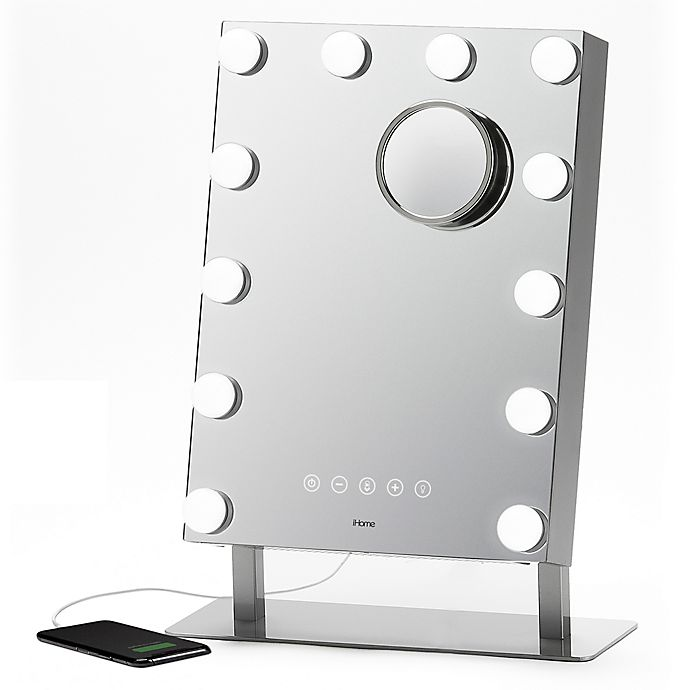 Alternate image 1 for iHome® 10x/1x Beauty Vanity Mirror and Stereo Speaker with Bluetooth® Speakerphone