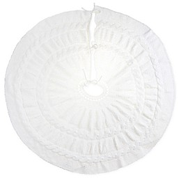 Bee & Willow™ Home Chenille Cable Knit Tree Skirt in Coconut Milk