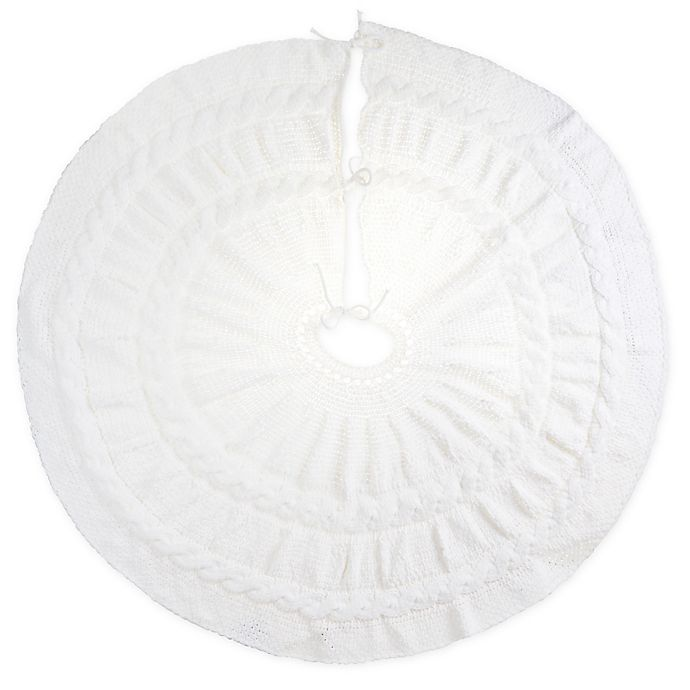 Alternate image 1 for Bee & Willow™ Home Chenille Cable Knit Tree Skirt in Coconut Milk