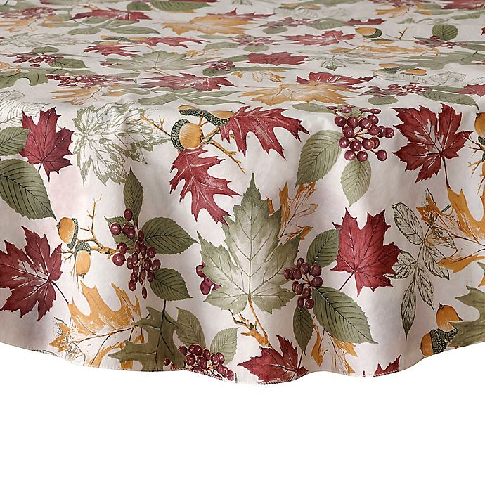 Alternate image 1 for Fall Leaf Melody Vinyl 70-Inch Round Tablecloth